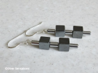 Black & Silver Hematite Cubes & Tubes Earrings | Silver Sensations
